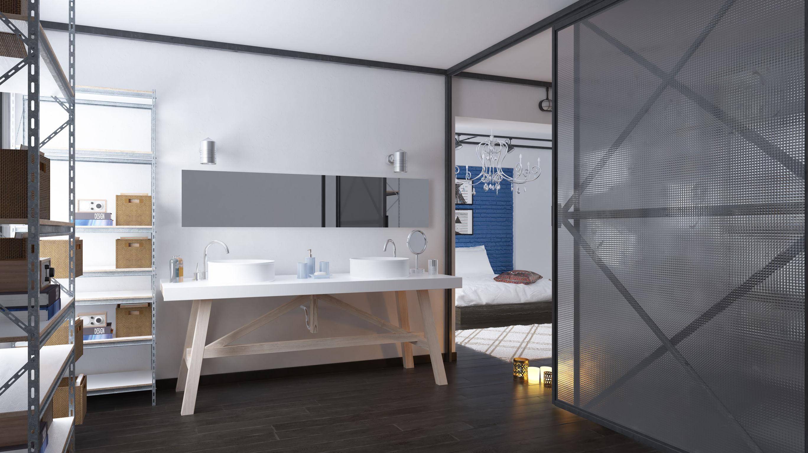 séparation pièce, usage cloison coulissante, rendu 3D d'un intérieur avec une cloison coulissante